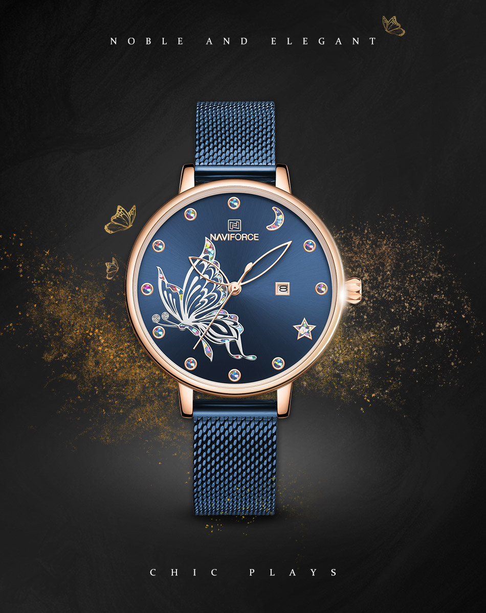Hfaf378b0aa964369823170a445806d05E - NAVIFORCE Luxury Brand Watch Women Fashion Dress Quartz Ladies Mesh Stainless Steel 3ATM Waterproof Casual Watches for Girl