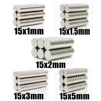 20~500Pcs N35 Round Magnet 15x1 15x1.5 15x2 15x3 15x5 Neodymium Magnet Permanent NdFeB Super Strong Powerful Magnets 15*2 15*3