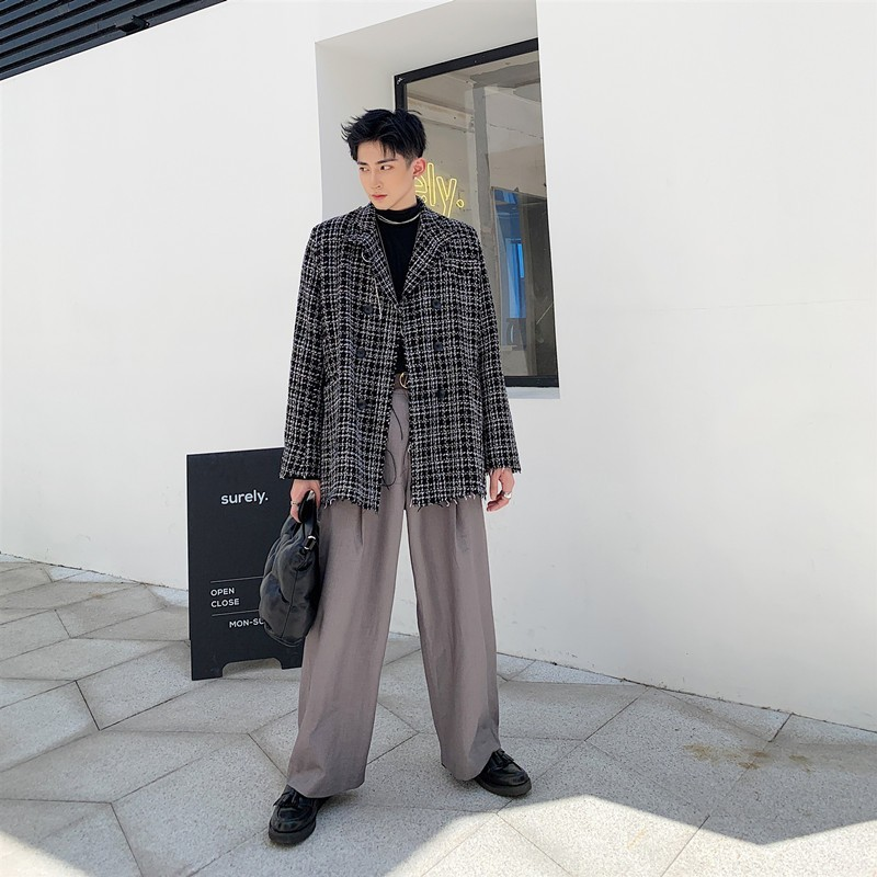 Qualities Autumn British Mens Casual Tassel Plaid Blazers Long Sleeve Double Breasted Lapel Loose Fit Male Medium Length Blazer