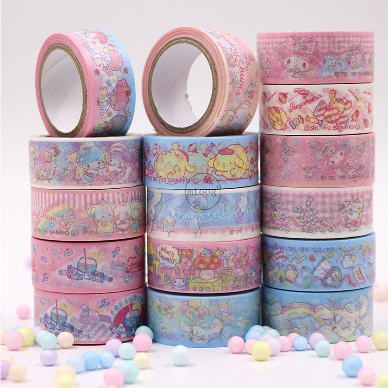 2pcs/lot Melody Big Ear Dog Washi Tape Set Sticky Decorative Small Fresh Scrapbook DIY Office Stationery Masking Paper Tape