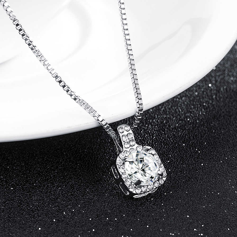 2019 New Fashion Square Rhinestone Crystal Zircon Pendant Necklace Women Silver Metal Chain Necklace Jewelry