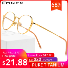 FONEX Pure Titanium Glasses Frame Men Ultralight Retro Round Myopia Optical Prescription Eyeglasses Frames Women Eyewear 879