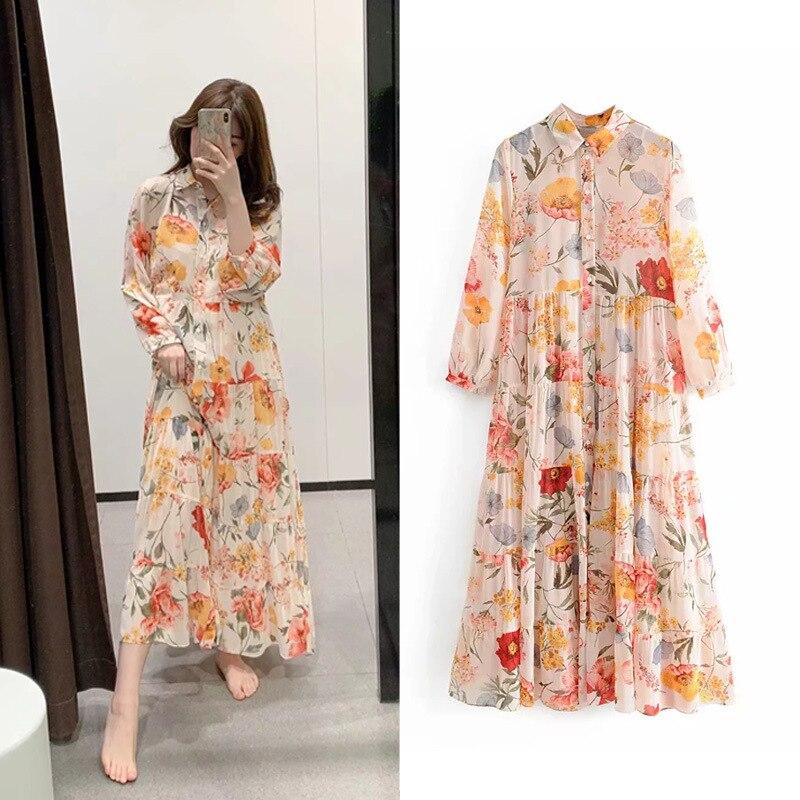 Chiffon Dress Europe And America WOMEN'S Dress Summer Floral-Print Flounced Holiday Beach Big Hemline Waist Hugging Long Skirts