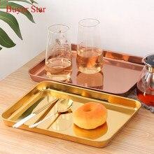 Bandeja dorada de acero inoxidable para servir comida, plato de postre de Metal decorativo, vajilla de cocina plateada para restaurante, Fiesta en comedor