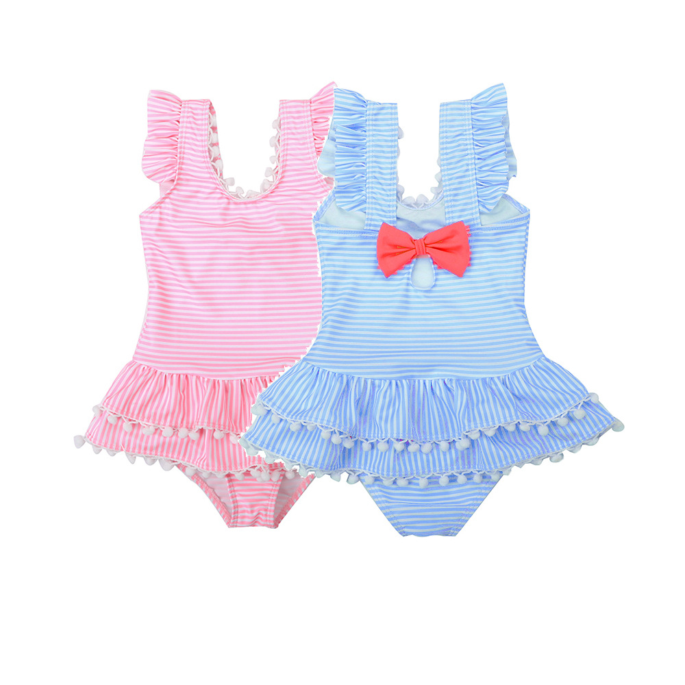 19 New Style Hot Sales One-piece Swimming Suit Stripes Bow Small Furry Ball Sweet Princess-Style Girls Small CHILDREN'S KID'S Sw