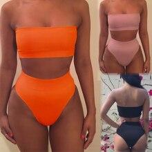 2020 Hirigin Frauen Badeanzug 2Pcs Hohe Taille Bikini Set Push-Up Bh Feste Bademode S-XL 6 farben