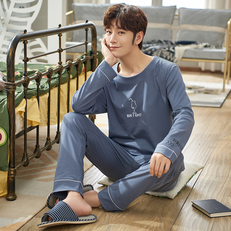 2020 Spring And Summer Men's Long-sleeved Trousers Cotton Pajamas Korean Casual Home Service Mid-autumn