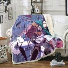 Soft Winter Blanket Levi Fleece Bed Blanket Attack on Titan Warm Throw Sofa Sherpa Flannel Double Layer Fleece Anime Blanket