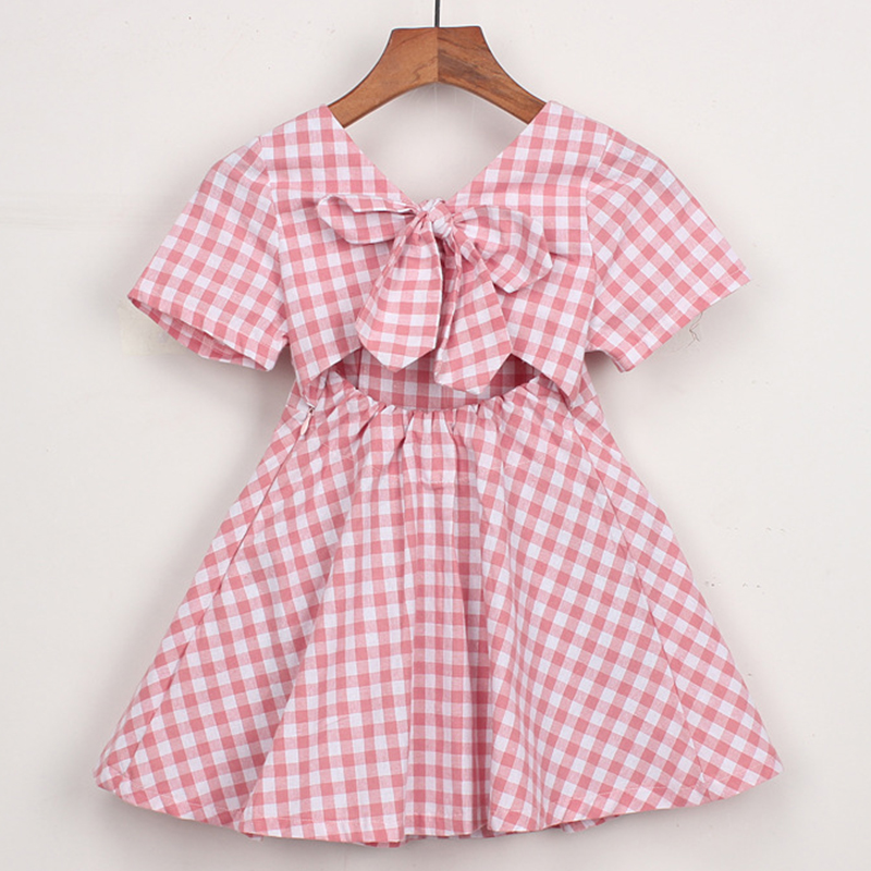 2020 New Summer Baby Girl Clothes Short Sleeve Plaid Princess Dress Kids Clothes Square Collar Casual Strapless Bow Dresses