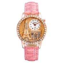 цена на Eiffel Tower Rhinestone Watch Ladies Fashion Casual Quartz Watch Woman Leather Band Crystal Clock Drop Shipping Relogio Feminino