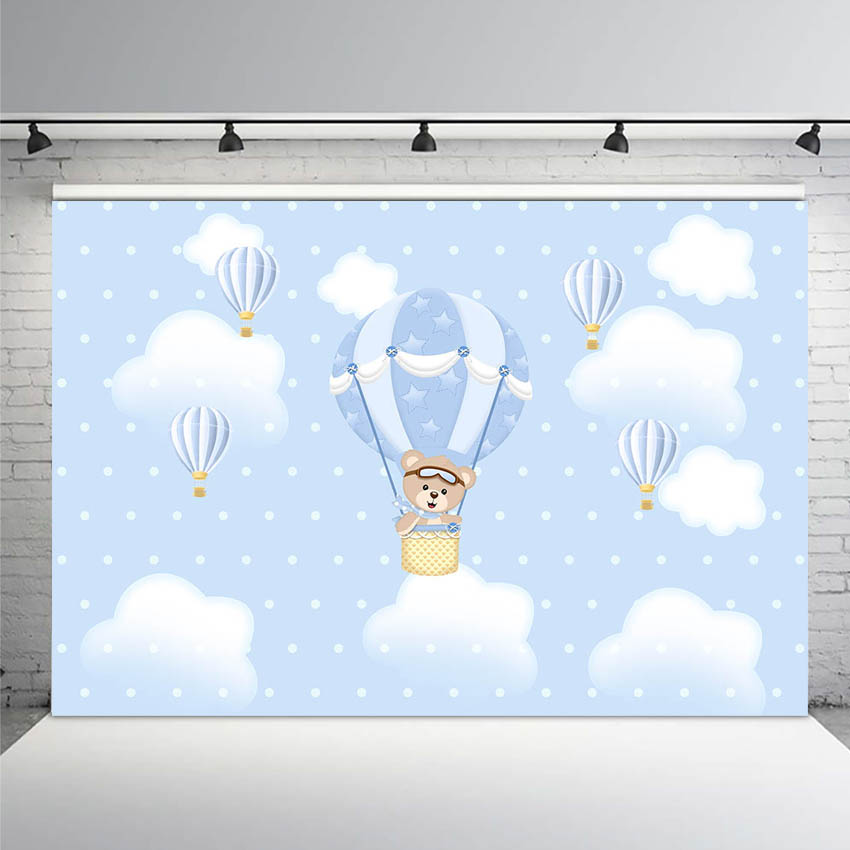 Mehofoto Up Up and Away Photo Background Newborn <font><b>Baby</b></font> <font><b>Boy</b></font> Birthday <font><b>Backdrop</b></font> <font><b>Baby</b></font> <font><b>Shower</b></font> Hot Air Balloon Bear Clouds Background image