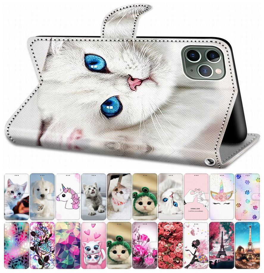 For Case Samsung Galaxy A50 A500 A510 A520 A5 2015 2016 2017 Flip Leather Book Cover Phone Case Tiger Wolf Lion Cat Dog DP08F
