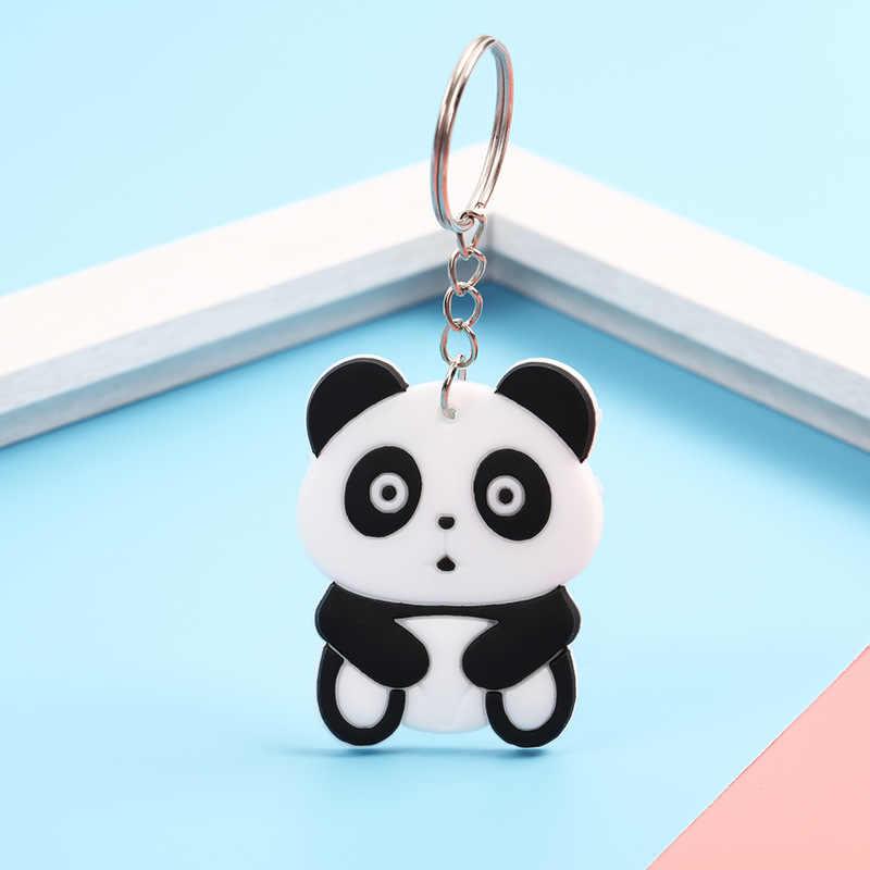 פנדה מפתח שרשרת קריקטורה יפה בעלי החיים טבעות סגסוגת טבעת רך סיליקון מפתחות מחזיק תיק קישוטי אביזרי מתנת Keychain