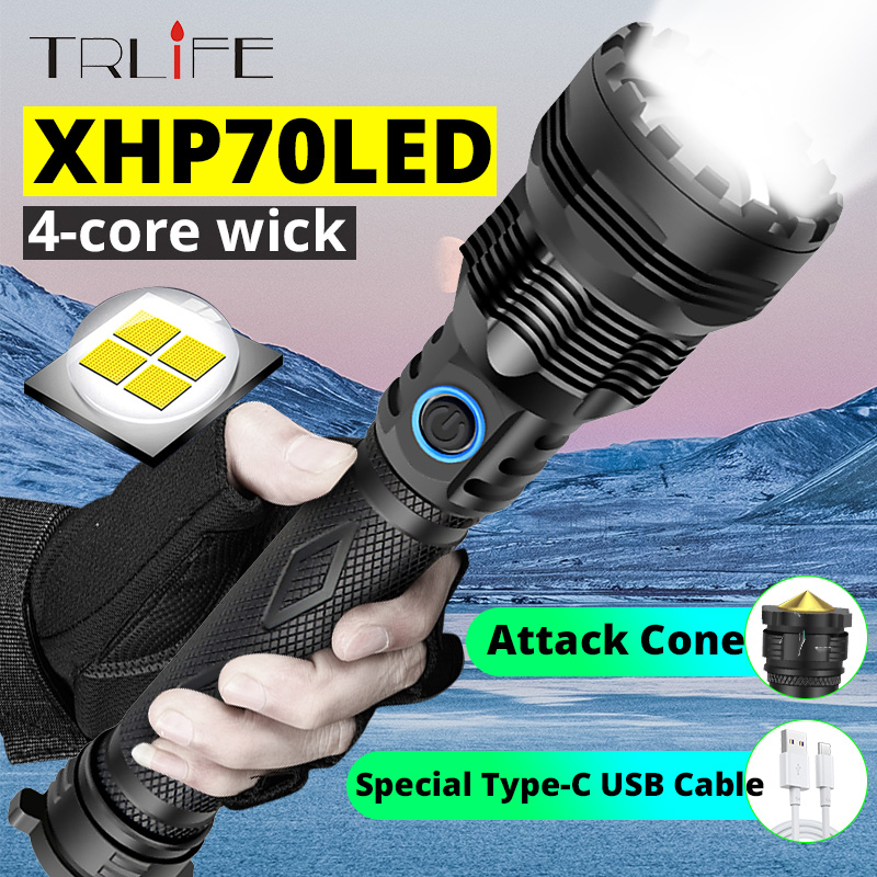 XHP70 Super Bright Glare Flashlight USB Charging 26650 LED Multifunctional Outdoor Aluminum Alloy Zoom Light With Attack Cone