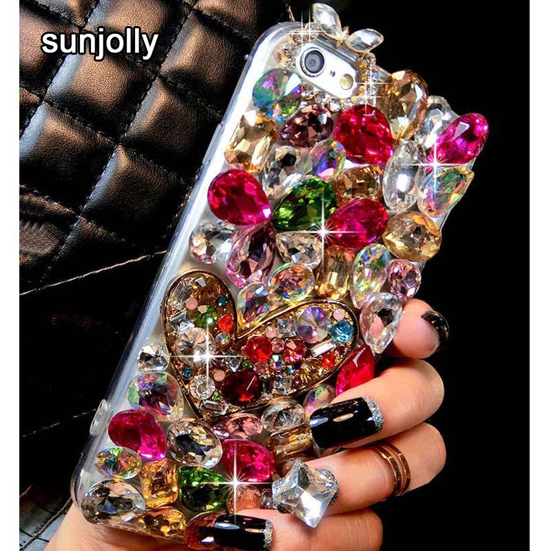 Luksus 3D-farge Diamond Case Rhinestone Bling-telefondeksel fundas coque for iPhone 11 Pro Max XS MAX XR X 8/7 Plus 6S / 6 Plus 5S