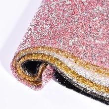 Bling 24*40cm ss12 vidro hotfix strass guarnição 8 cor corrente strass flatback strass malha dobra para roupas diy a80