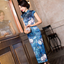 2019 Sale Midi Chinese Wind Restoring Ancient Ways Cultivate Morality Show Thin Cheongsam Qipao Fashion High end Printing Joker