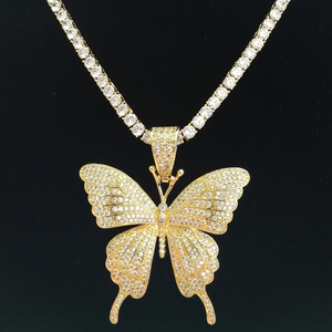 Image 5 - Bronze cz borboleta pingentes & colar cor ouro prata cor cz tênis corrente cn111a