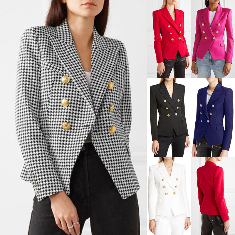 2019 Winter Fashion Office Work Casual Blazer Jacket Long Sleeve Slim Fit Gold Buttons Business Lounge Suit Coat For Women Girls