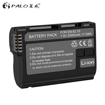 PALO High Quality 2500mAh EN-EL15 ENEL15 EN EL15 decoded Camera Battery For Nikon D600 D610 D800 D800E D810 D7000 D7100 D7200 V1 meike vertical battery grip for nikon d7100 d7200 as mb d15 2 en el15 dual charger