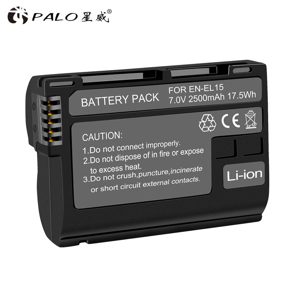 Palo Hoge Kwaliteit 2500Mah EN-EL15 ENEL15 En EL15 Gedecodeerd Camera Batterij Voor Nikon D600 D610 D800 D800E D810 D7000 d7100 D7200 V1