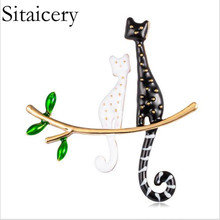 Sitaicery New Cute Cat Brooch Black White Enamel Pin Carton Child Animal Gift Backpack Clothing Jewelry