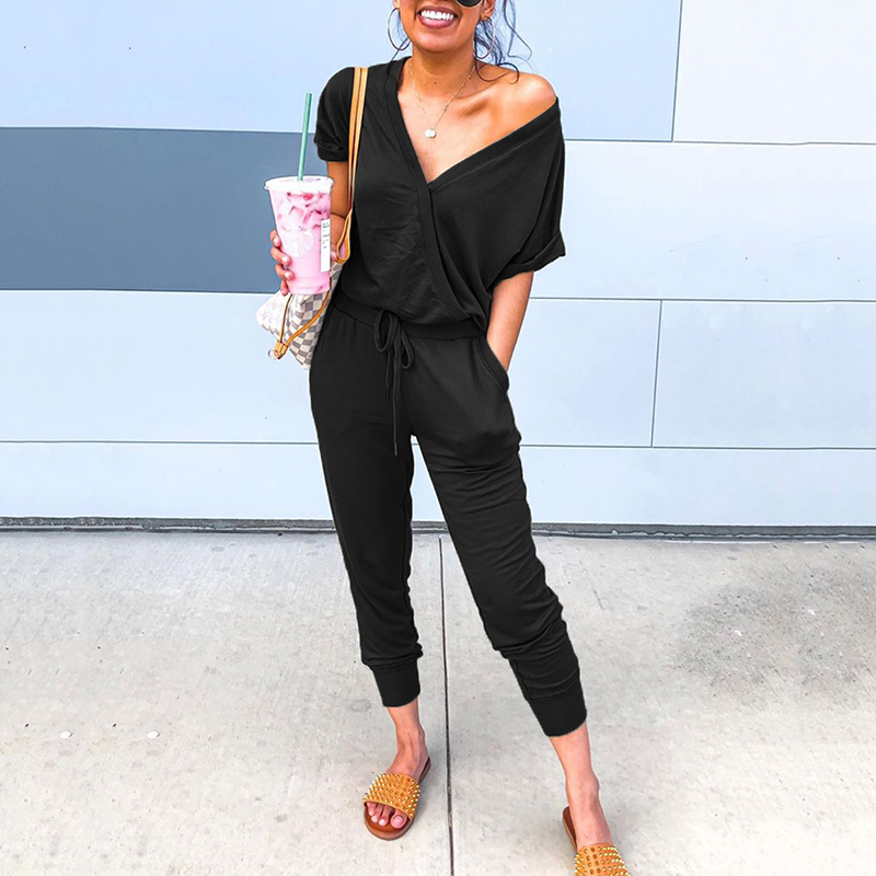 New slim autumn sexy jumpsuit women short sleeve rompers overalls jumpsuits solid v-neck black jump suit pocket home ropa mujer