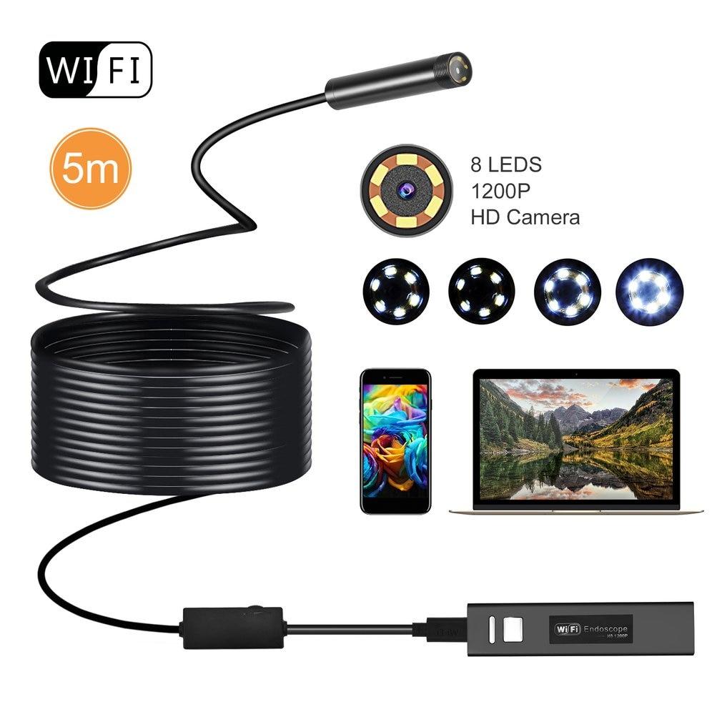 WIFI Endoscope Camera Mini Waterproof Soft Cable Inspection Camera 8mm 5M USB Endoscope Borescope IOS Endoscope For Iphone
