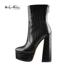 Onlymaker נשים של קרסול 16CM גבוהה שמנמן עקבים פלטפורמת הנעל בוהן עגול אבן דפוס מותן קצר עבה מגפי עבור חורף