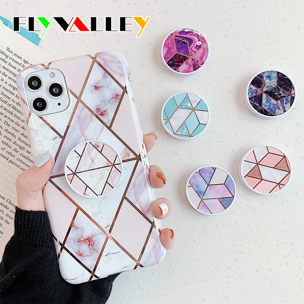 Plating Kickstand Marble Hoder For iPhone Samsung Huawei Xiaomi Redmi <font><b>Oneplus</b></font> <font><b>Smartphone</b></font> Protect Elastic Rope Bracket Support image