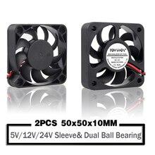 2 pièces 5V 12V 24V 5010 50mm ventilateur roulement à billes 50x50x10mm ventilateur 5010 ventilateur de refroidissement 5cm PC ordinateur portable refroidisseur ventilateur radiateur ventilateurs