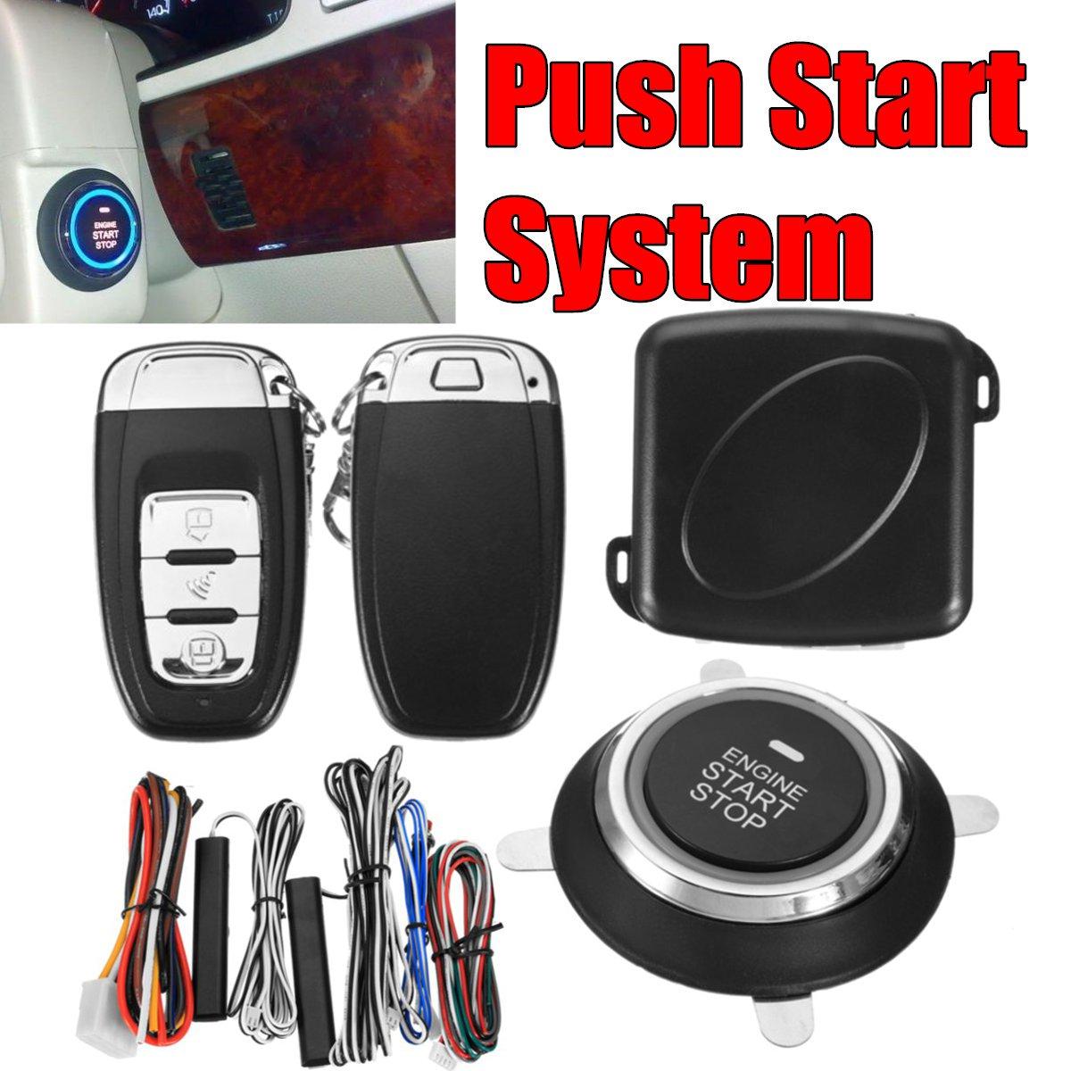 9Pc bricolage voiture SUV sans clé entrée moteur démarrage sans clé système d'alarme bouton poussoir démarreur à distance arrêt Automobiles Auto voiture accessoires - 2