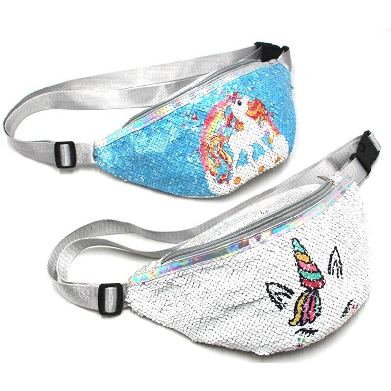 1 PC Unicon Sequined Waist Bag Women Girls Runing Pockets Multi-function Money Wallet Waist Bag Packet Money Waist Bag Dropship