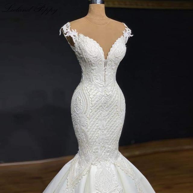 Lceland Poppy Luxury Mermaid Wedding Dresses 2021 Lace Appliques Sleeveless Bridal Dress Sweep Train Beaded Vestido de Noiva 3