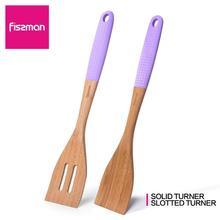 FISSMAN Bamboo Turner щелевая лопатка Твердые лопатки для вока кухонная утварь-силиконовая ручка