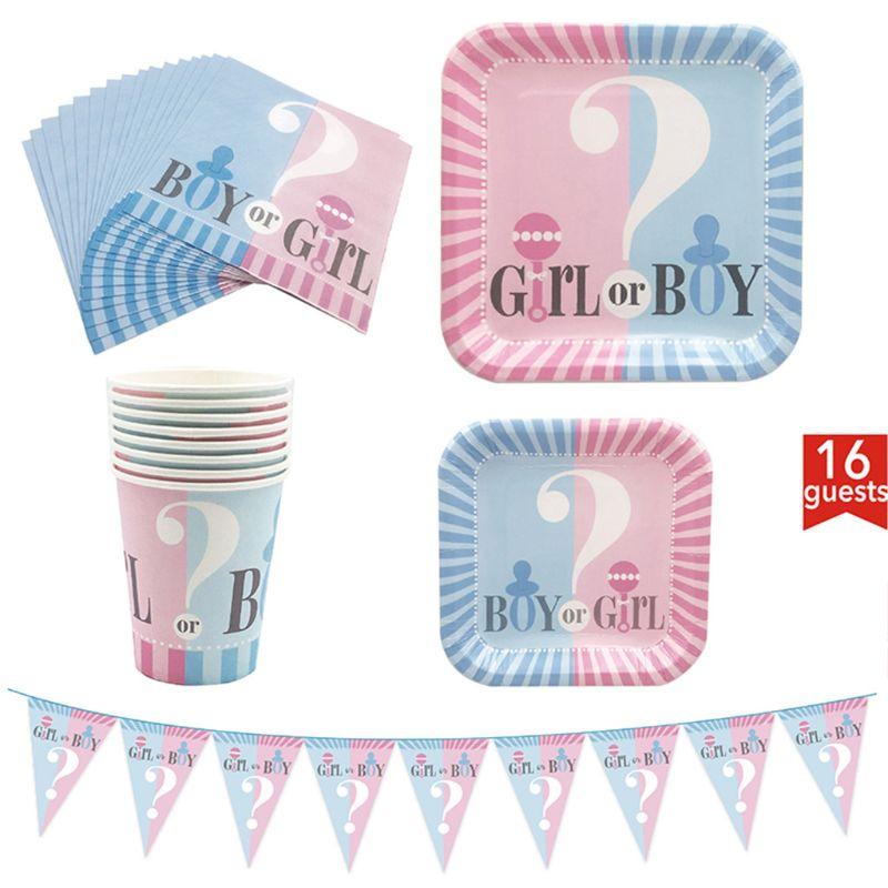 Kit Partyware 65 pièces, bleu & rose-sert 16, bannière rose et bleue, nappe jetable, 16 assiettes en papier, 16 serviettes de table, 16 tasses