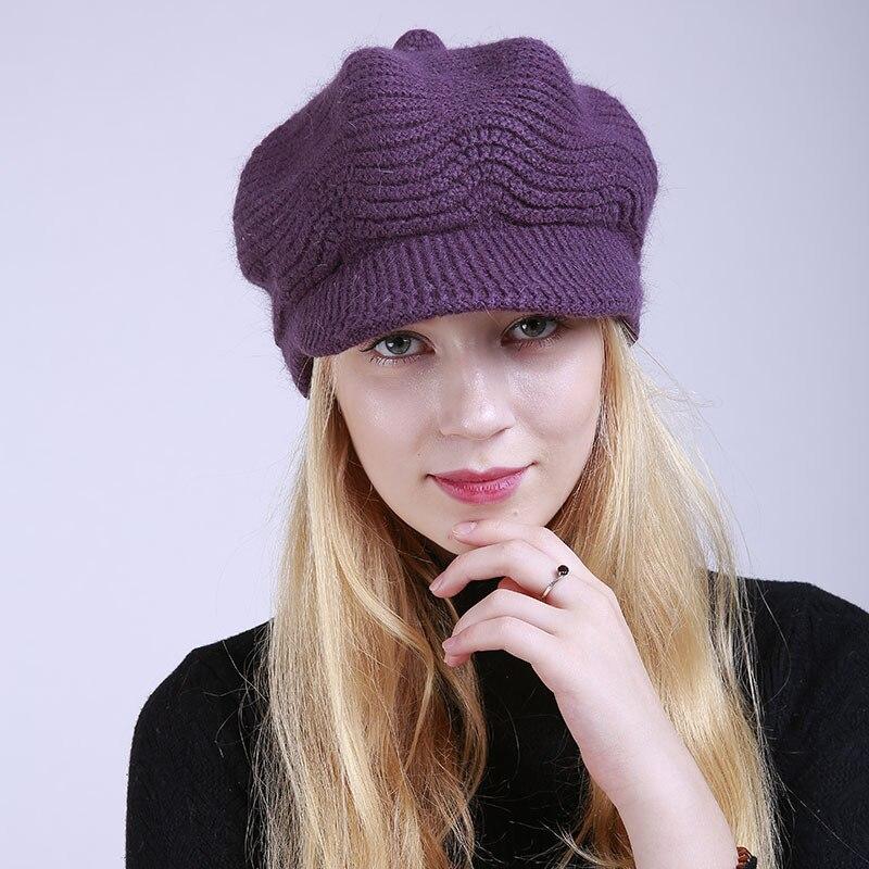 Winter Latest Solid Color Korean Version Rabbit Wool Hat Plus Velvet Fashion Keep Warm Knitting Peaked Cap Female Trend