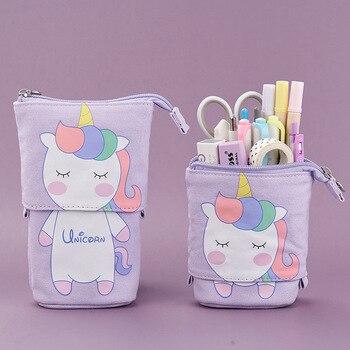 Cute Cat School Pencil Case for Girls Boy Pencilcase Canvas Cartridge Pen Bag Kawaii Unicorn Pen Box Stationery Korean Penal Kit