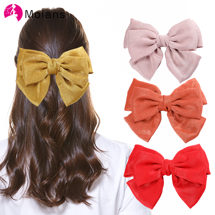 Molans 2020 Spring Solid Glitter Bow Clips Lovely Girls Pink Satin Hairpins Elegant Big Bow Hair Accessories Clips For Women