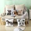 Puremind Cartoon Style Cute Sketch Panda Animal Car Cartoon Sofa Waist Cushion Cover Pillow Case Pillow Cover Home Decor TPR017