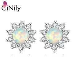 Cinily branco azul rosa verde fogo opala pedra redonda brincos de prata chapeado daisy girassol flor flora verão jóias menina