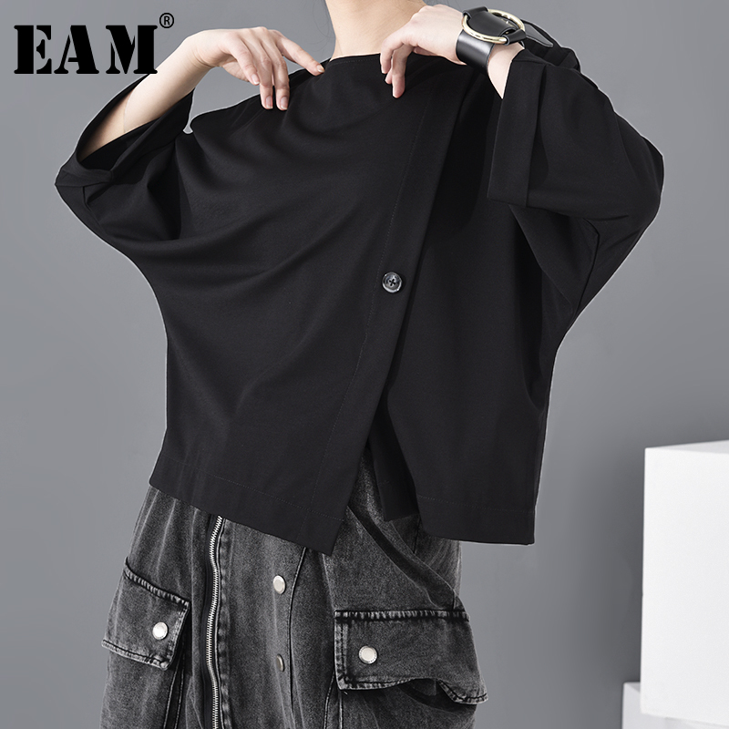 [EAM] Women Black Button Vent Split Big Size T-shirt New Round Neck Three-quarter Sleeve Fashion Spring Autumn 2020 JT23301 1