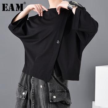 [EAM] Women Black Button Vent Split Big Size T-shirt New Round Neck Three-quarter Sleeve Fashion Spring Autumn 2021 JT23301 - discount item  33% OFF Tops & Tees