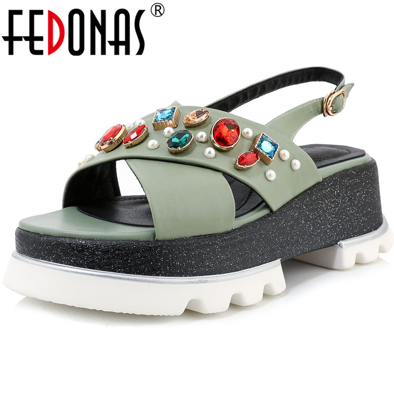 FEDONAS Rhinestone Platforms Pumps Peep Toe Women Sandals Prom Party 2020 Plats New Pearl Summer Genuine Leather Shoes Woman