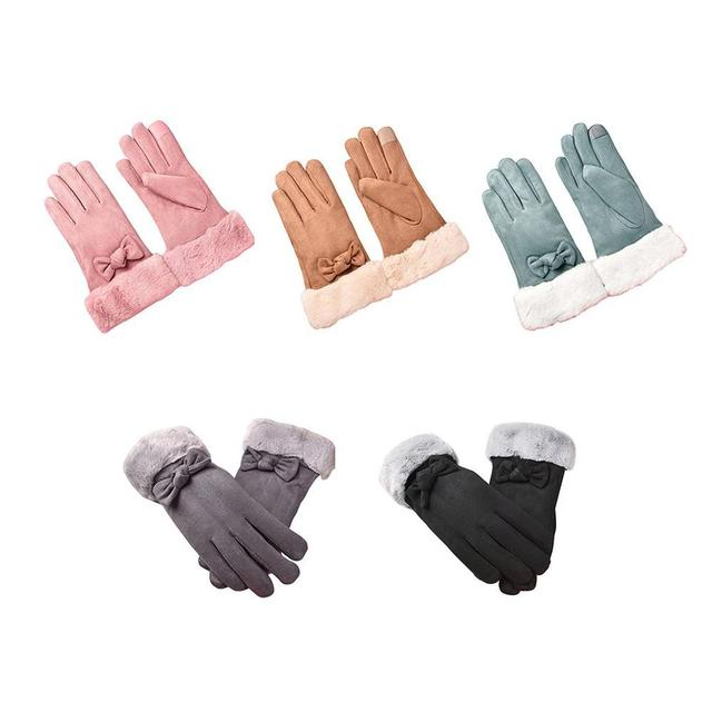 Gloves Female Autumn And Winter Warm Gloves Thick Velvet Touch Screen Bike Gloves Suede Cute Bow Gloves 1