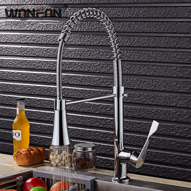 Kitchen Faucet Chrome Silver Brass Pull Out Spring Kitchen Sink Faucet Torneira De Cozinha Mixer Tap Rubinetto Cucina N22-136