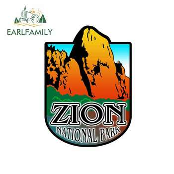 EARLFAMILY 13cm x 9.6cm for Zion National Park Blue Funny Car Stickers and Decals for DIY Trunk Bumper Graphics Car Styling image