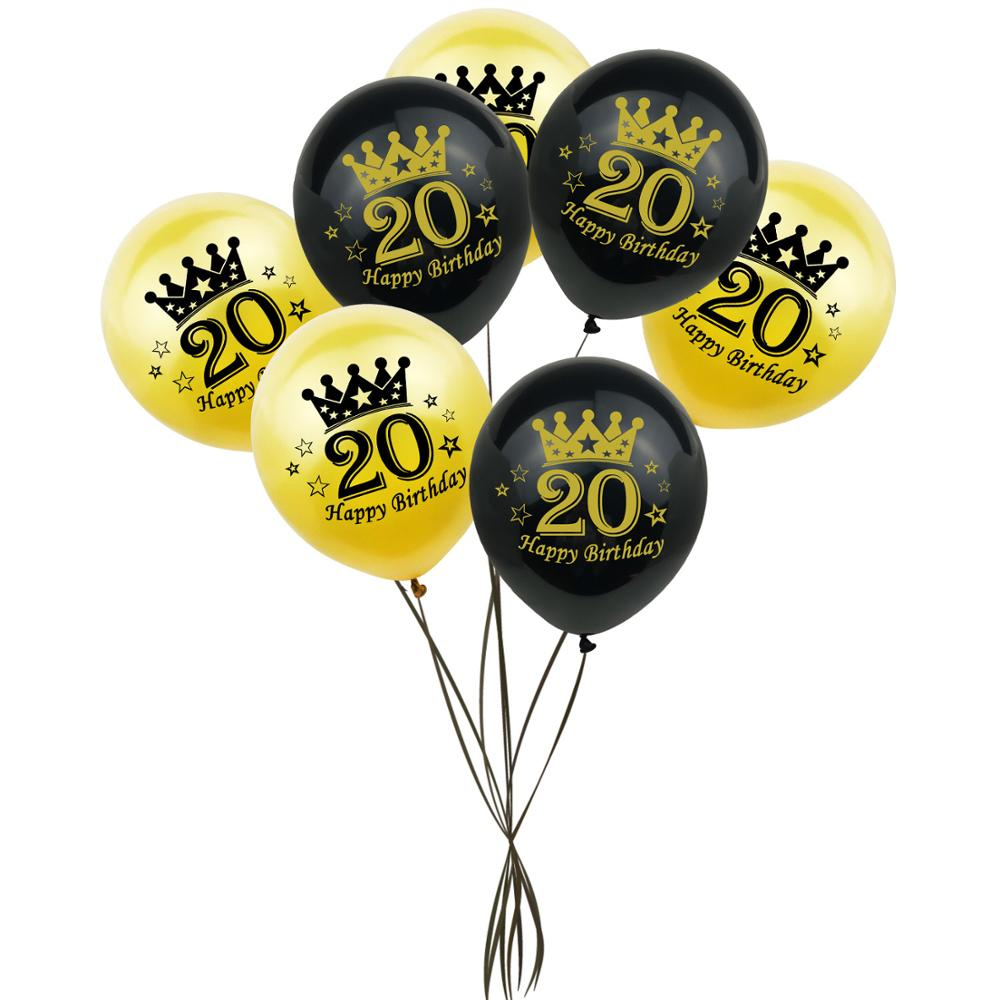 8 pçs 20th feliz aniversário decorações de festa adulto 12 polegada ouro preto número látex balão para 20 anos de idade aniversário decoração 53d