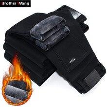 2020 Winter Neue Männer Warme Dünne Jeans Elastizität Dünne Schwarze Jeans Mode Lässig Dicke Denim Hosen Hosen Männlichen Marke Kleidung