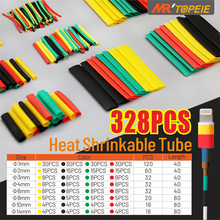 328pcs 2:1 Polyolefin Shrink Heat Shrinkable Tube Assorted Insulation Electrical Connection Wire Wrap Cable Various Colors